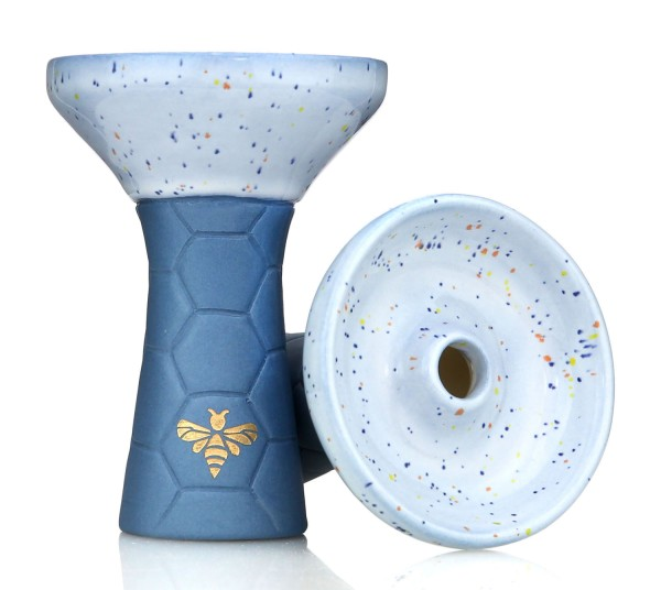 Bee Hookah Phunnel Matt Blue - Half Glazed White Blue