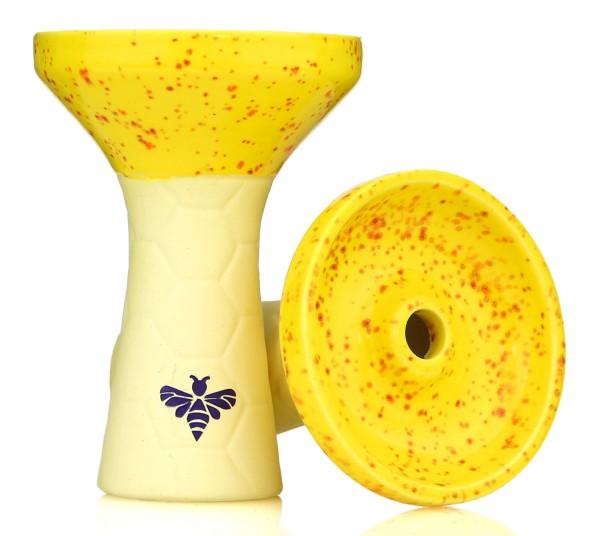 Bee Hookah Phunnel Yellow - Half Glazed Yellow Orange