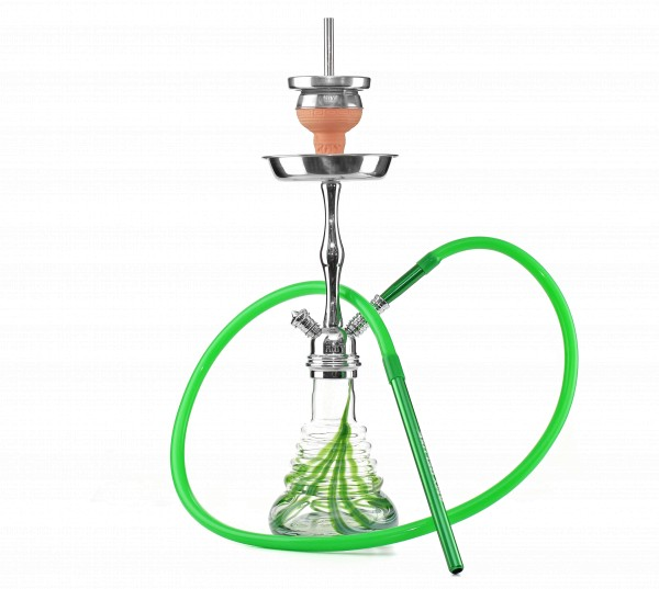 Amy Stillness Shisha Silver Shaft Green Klicksystem HS