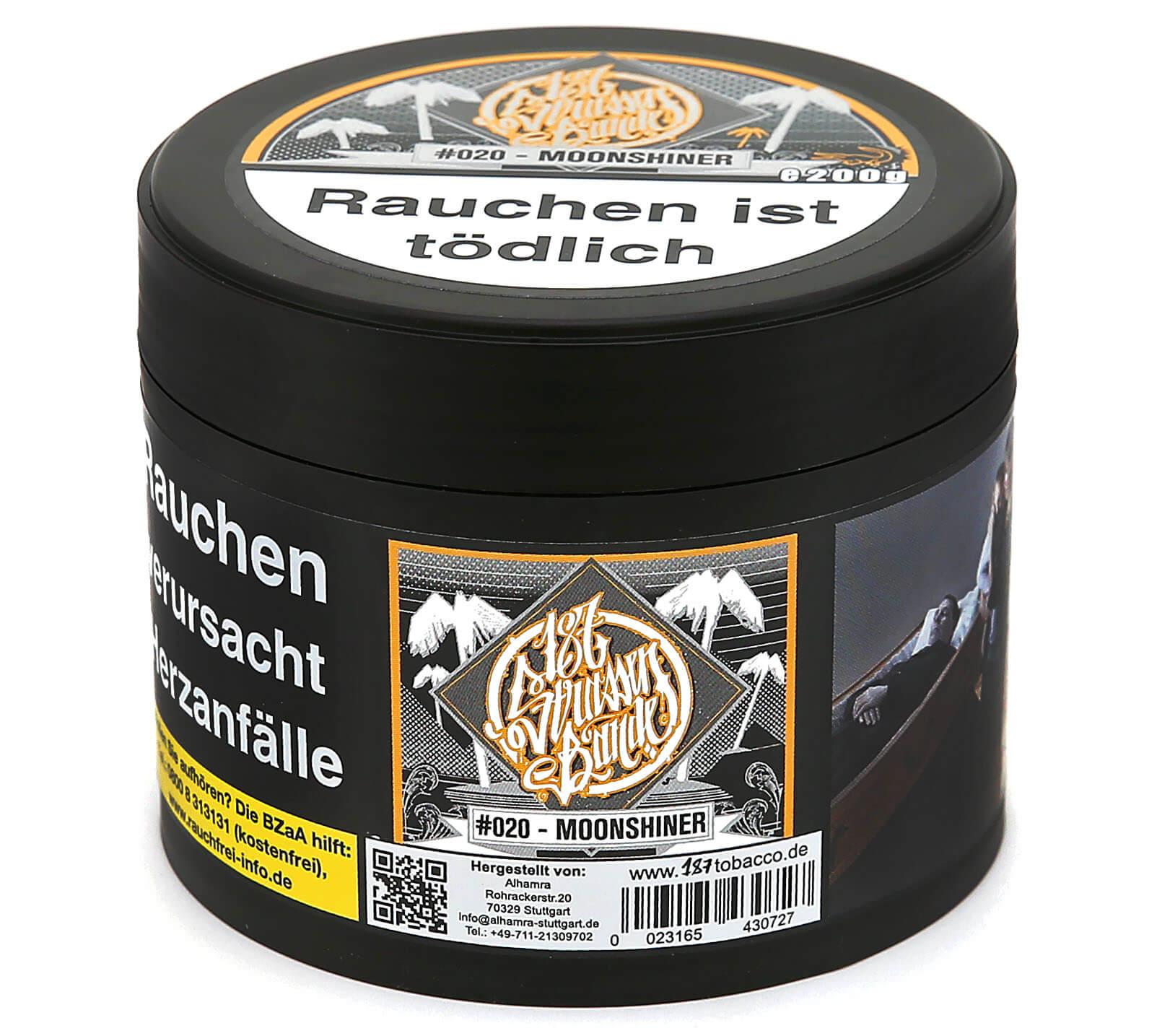 187 stra enbande moonshiner shisha tabak 187 stra enbande shisha tabak elwano shisha shop. Black Bedroom Furniture Sets. Home Design Ideas