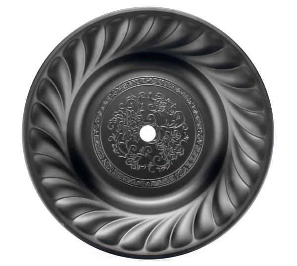 Verzierter Kohleteller Coated Schwarz 34cm