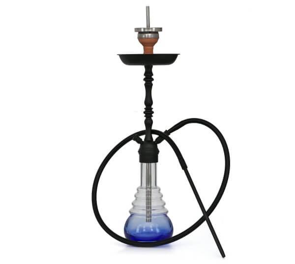 4-Kings Shisha Arabic Matt Black Blue Klick mit Kaminaufsatz