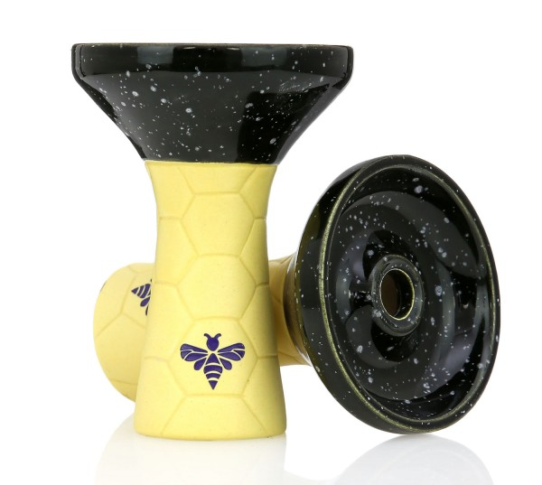 Bee Hookah Phunnel Yellow - Half Glazed Black White