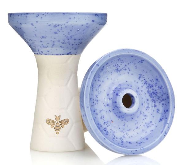 Bee Hookah Phunnel White - Half Glazed Light Blue
