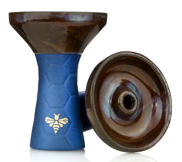 Bee Hookah Phunnel Dark Blue - Half Glazed Brown
