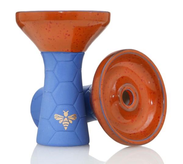 Bee Hookah Phunnel Dark Blue - Half Glazed Orange