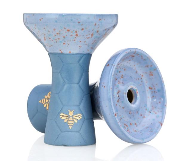 Bee Hookah Phunnel Dark Blue - Half Glazed Light Blue White