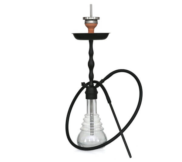 4-Kings Shisha Classic Matt Black Shining Clear Klick mit Kaminaufsatz